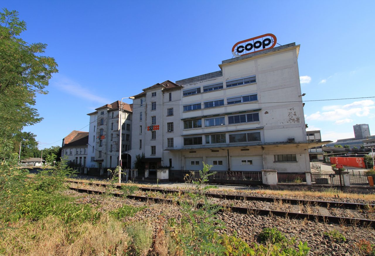 «Fassade des ehemaligen Sitzes der COOP am Port du Rhin »©Eurométropole, Jérôme Dorkel