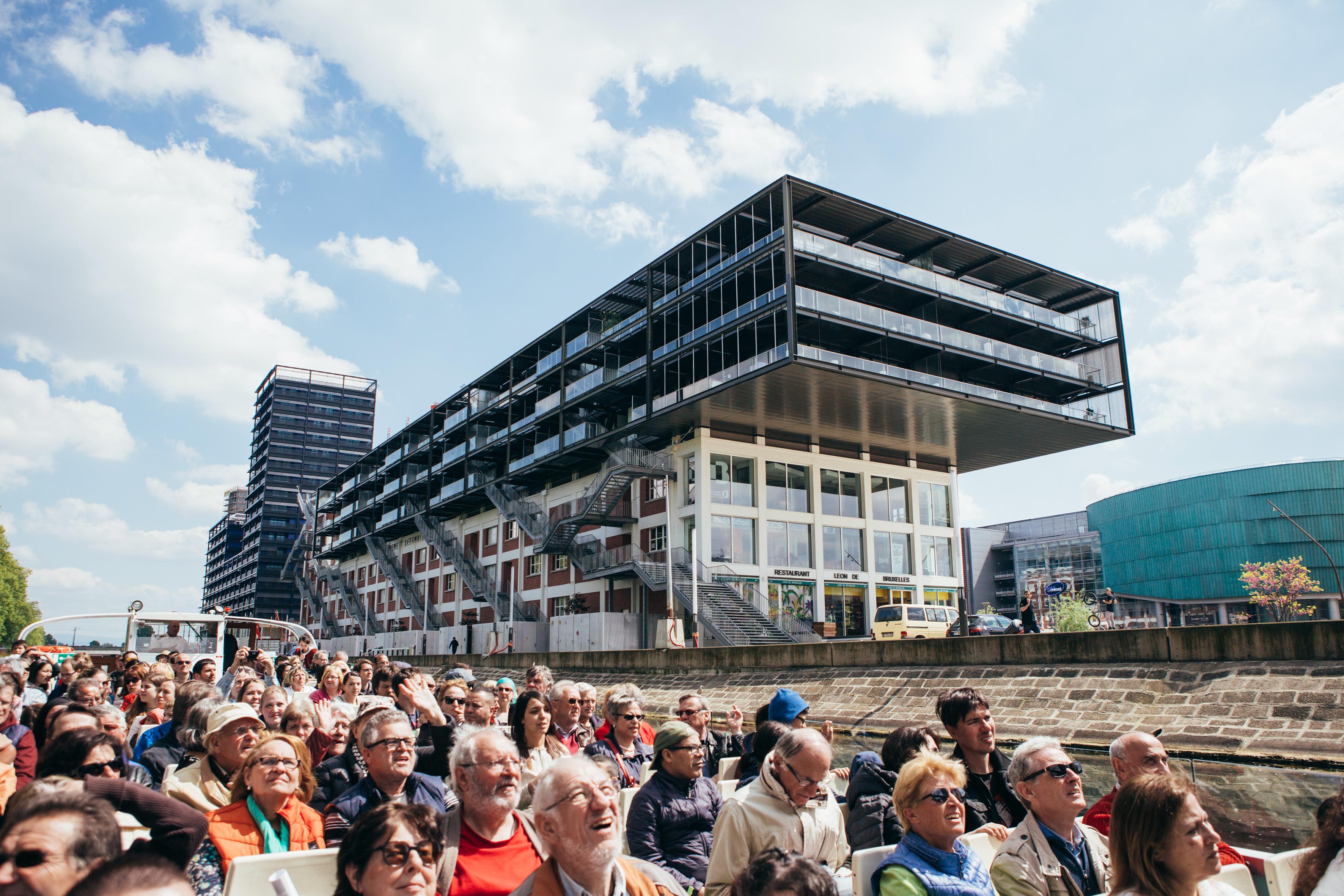 Balade en bateau avec Batorama pour découvrir le grand projet Deux-Rives - © Vincent Muller / SPL Deux Rives