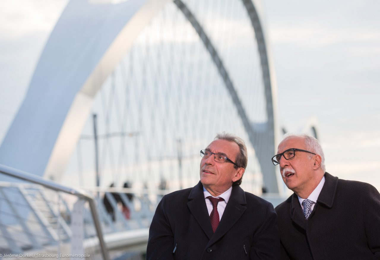 (left to right) Roland Ries, Mayor of Strasbourg and Toni Vetrano Mayor of Kehl am Rhein  © Jérôme Dorkel / Eurométropole