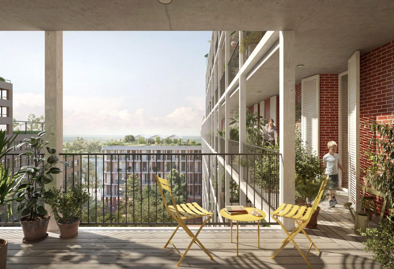 Vue des balcons © OFFICE Kersten Geers David Van Severen + LPAA Loïc Picquet Architecte + Filippo Bolognese