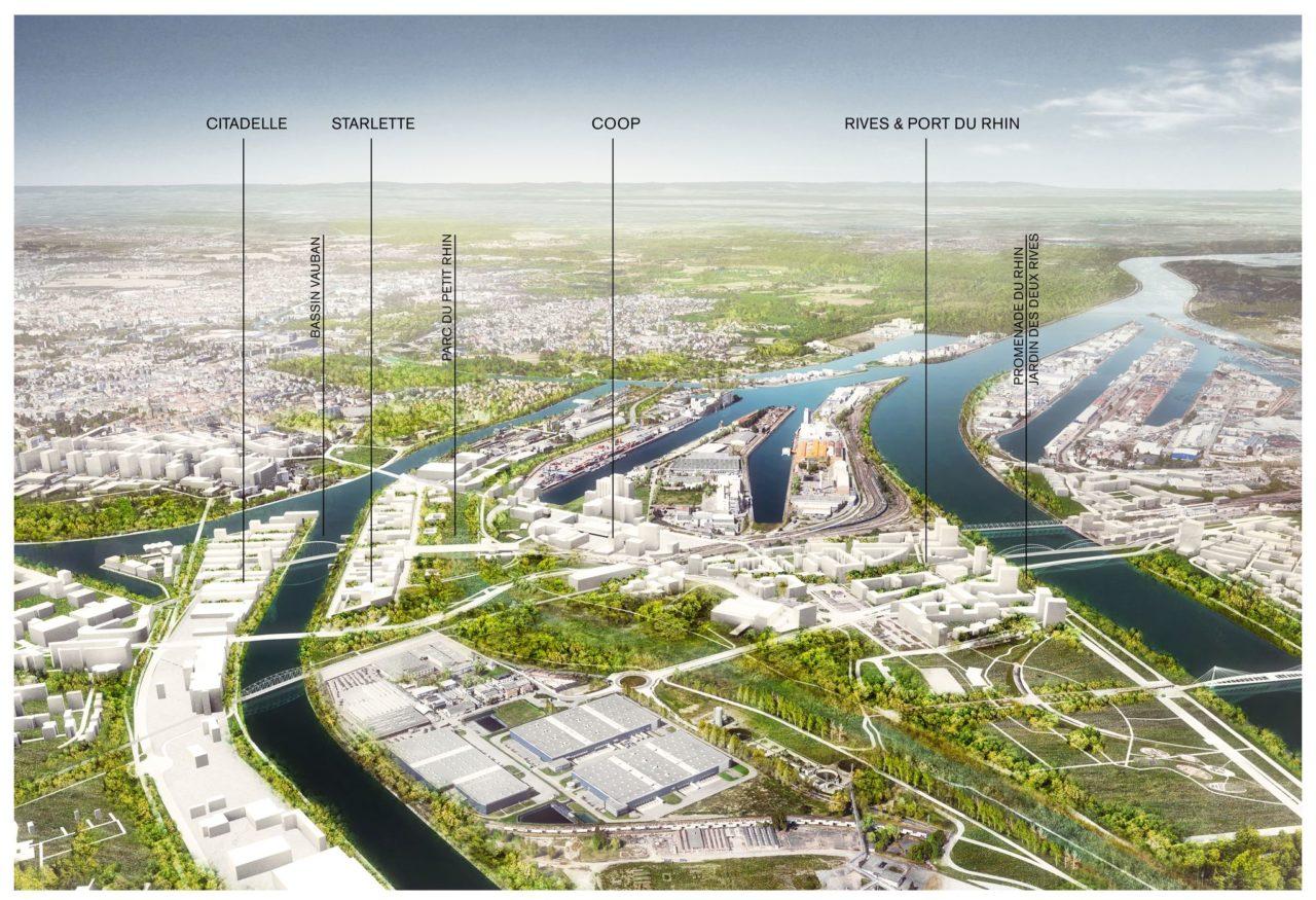 Nouvelle étape du grand projet Deux Rives : Vue Aérienne du Plan Guide Territoire - Crédits : Agences TER, 51N4E, LIST