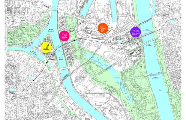 Carte des 4 quartiers en projet © Approche.s.