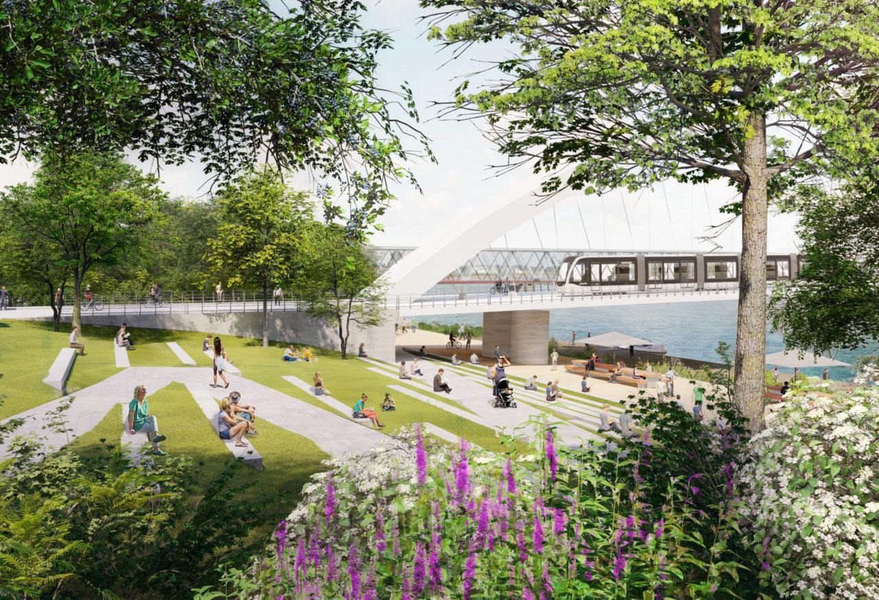 La future Promenade du Rhin au niveau du pont Beatus Rhenanus © Agence Ter
