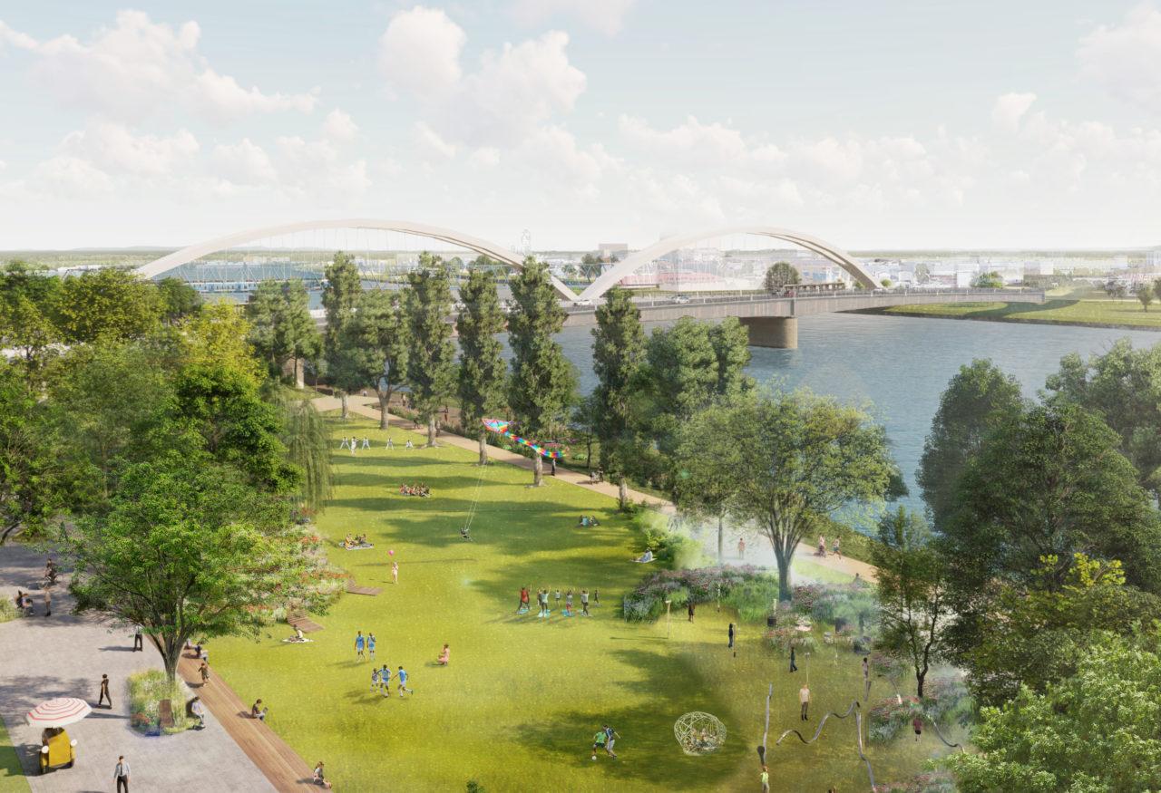 La future Promenade du Rhin entre le pont Beatus Rhenanus et le Jardin des Deux-Rives © Agence Ter