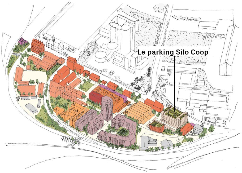 Le parking Silo Coop sera situé à l'entrée du quartier pour répondre aux besoins des futurs habitants, travailleurs et visiteurs ! (Crédits axonométrie : Alexandre Chemetoff & Associés)