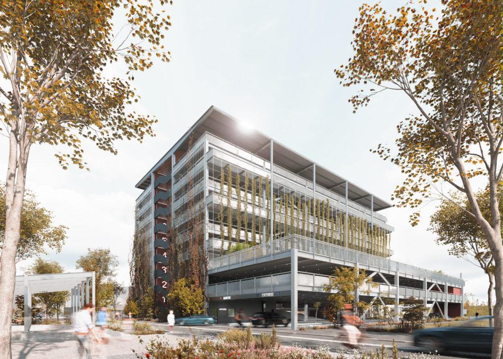 Le futur parking-silo de la Coop et sa toiture maraîchère. (Crédits perspective : AEA Architectes)