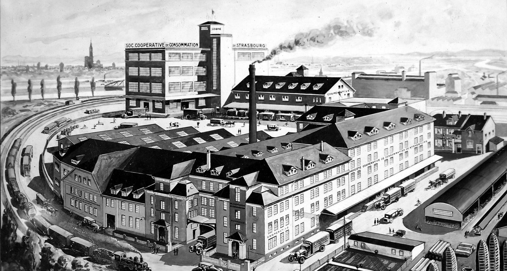 Illustration d'époque présentant une vue aérienne du siège de la COOP.