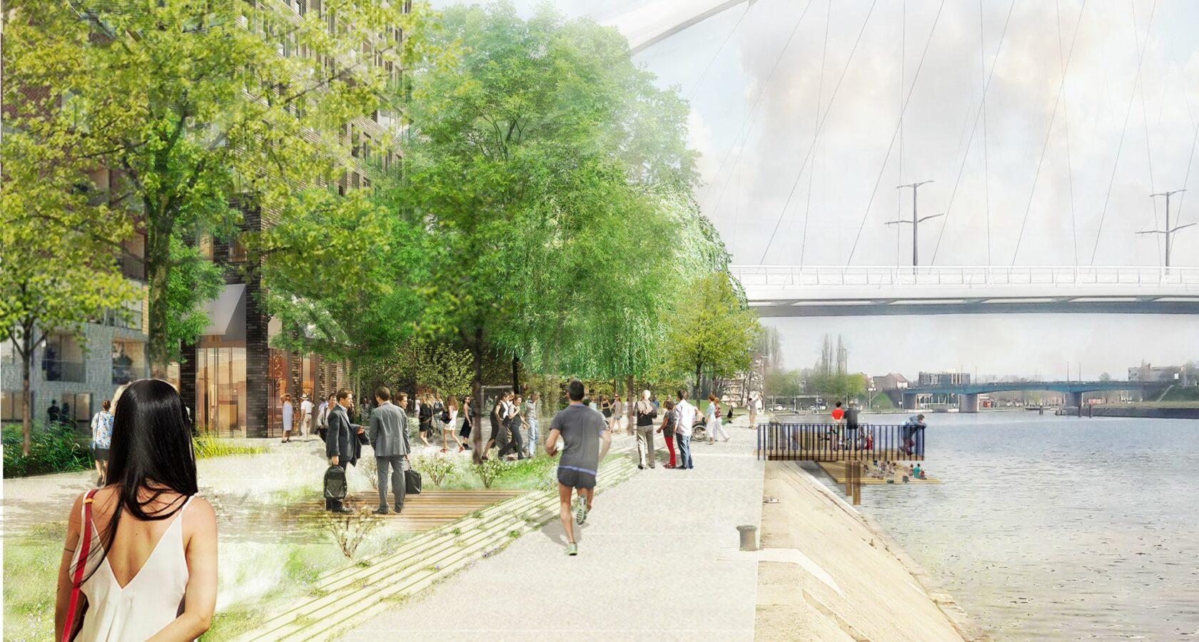 Vue perspective des bâtiments à Citadelle Sud et du pont André Bord. Crédits Agence TER.