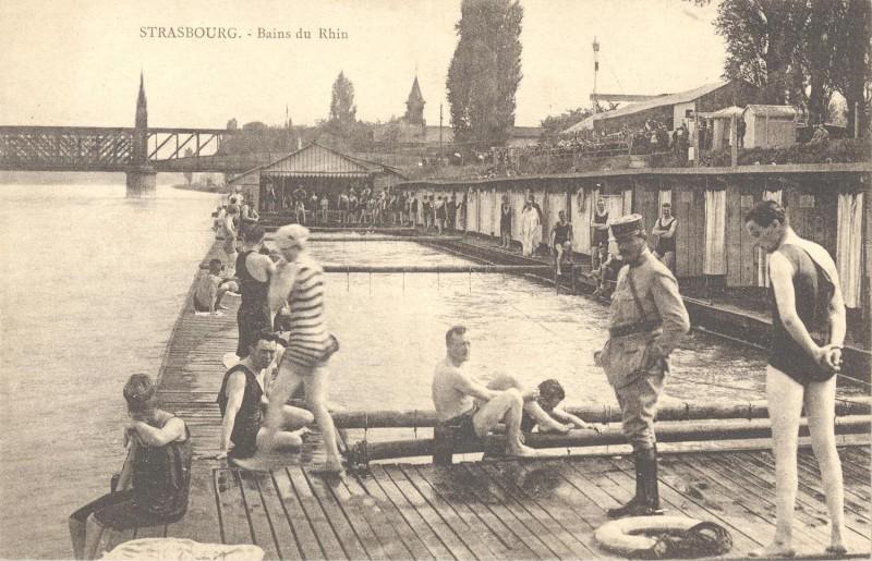 Archivaufnahme von Badenden im Rhein, Copyright Archiv der Stadt Straßburg
