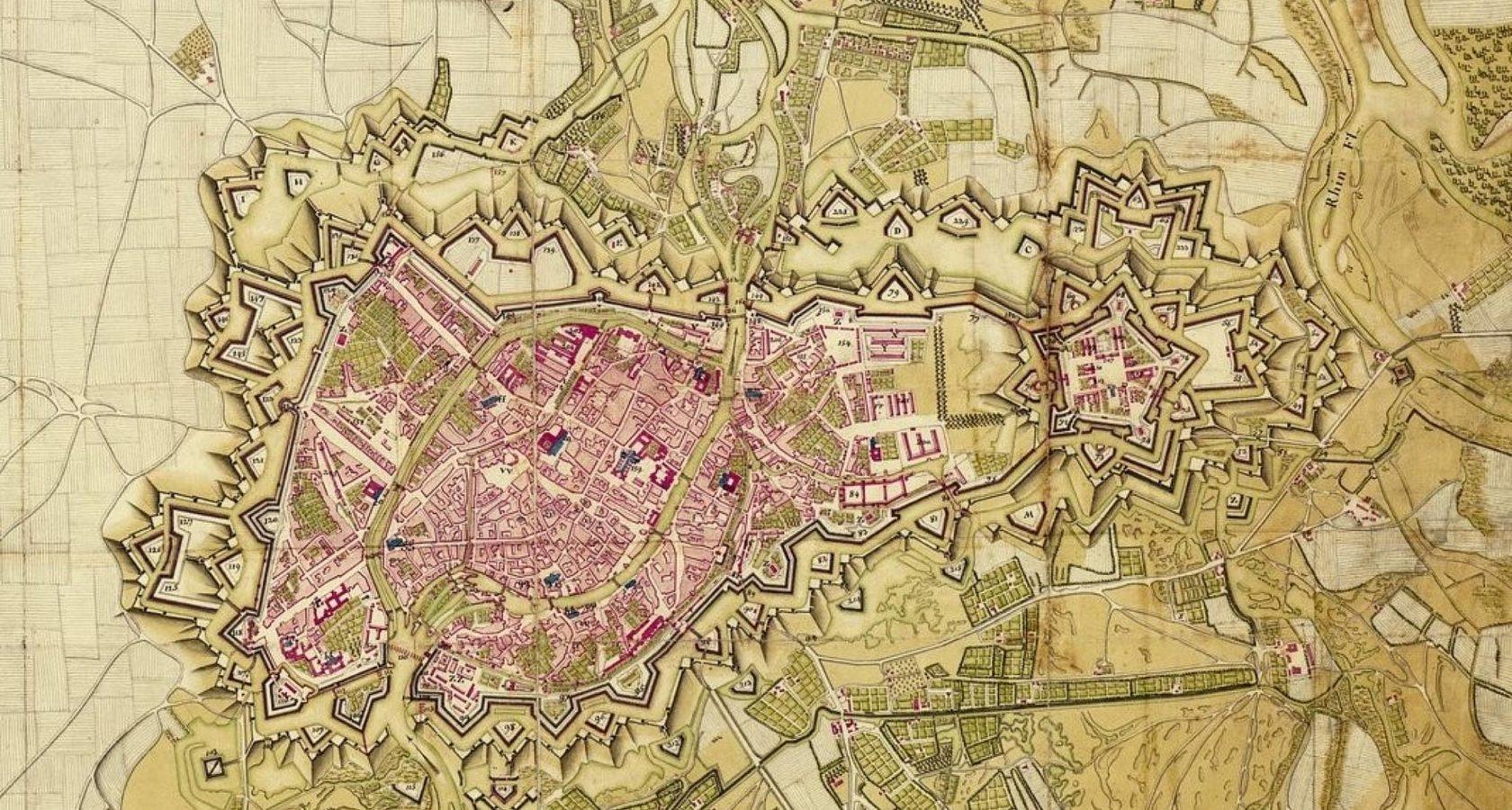 Karte mit den von Vauban in Straßburg gebauten Festungsanlagen um 1750, Copyright AVES