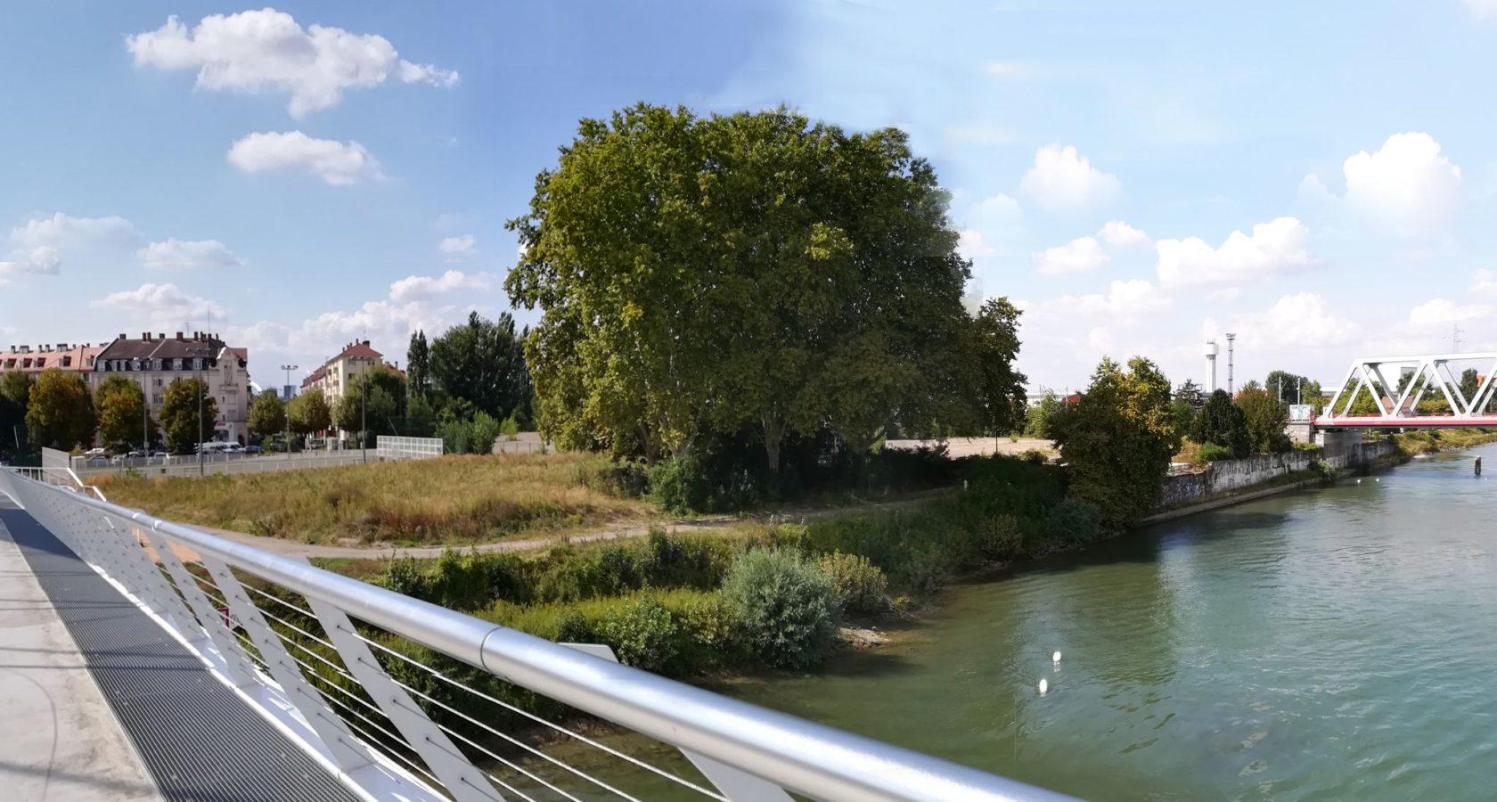 Blick von der Beatus-Rhenanus-Brücke auf die Rheinufer, heute, Copyright SPL Deux-Rives