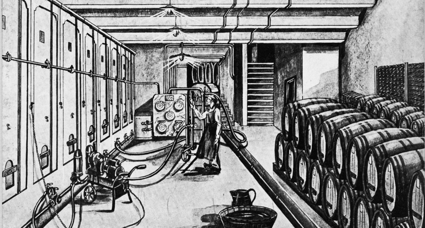 Illustration von damals, Weinlager in der Cave à Vins