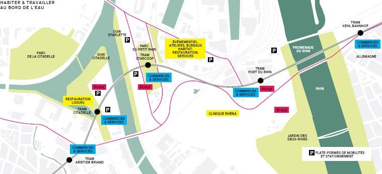Karte mit den Straßenbahnhaltestellen, P&R-Angeboten und den zentralen Punkten der vier Stadtviertel im Projekt Deux-Rives / Zwei-Ufer.