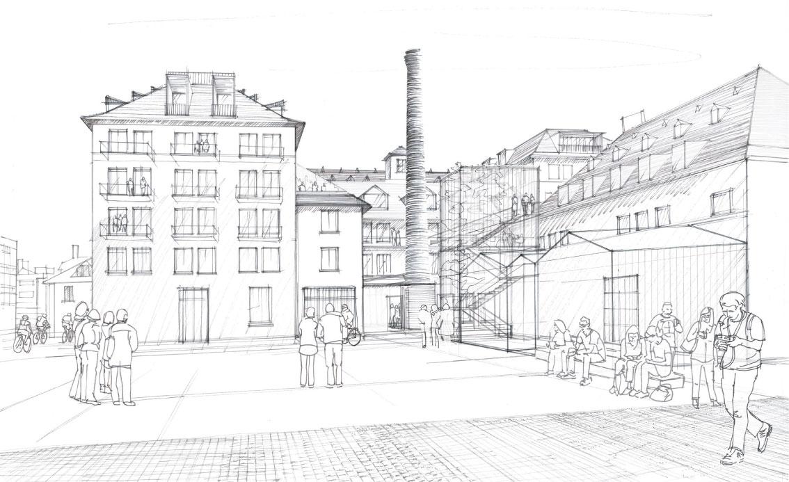 Skizze des Gebäudes Administration nach der Sanierung, Copyright Alexandre Chemetoff