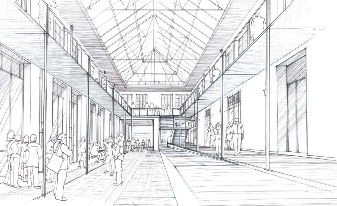 Skizze des Glasdaches des Administration nach der Sanierung, Copyright Alexandre Chemetoff