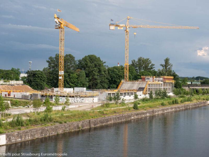 Le bassin Vauban en premier plan, la promenade des quais Starlette et l'opération Quai Starlette en arrière-plan. (Crédits photo : Ville et Eurométropole de Strasbourg)